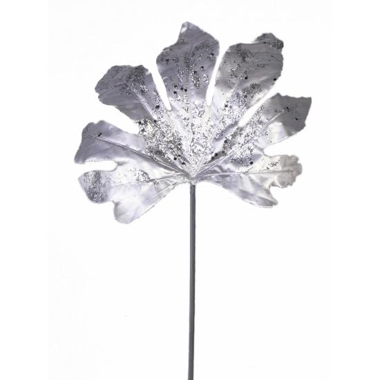 Zilver Aralia Blad Met Glitters 55 Cm Thermo ondergoedwinkel kopen