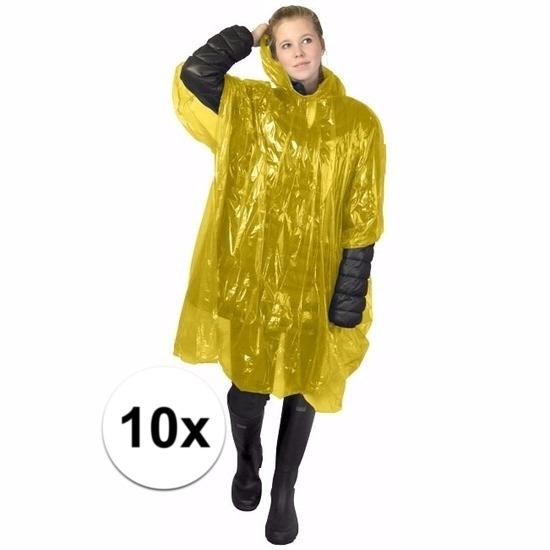 €400000 Bespaart Geen 10x wegwerp regenponcho geel
