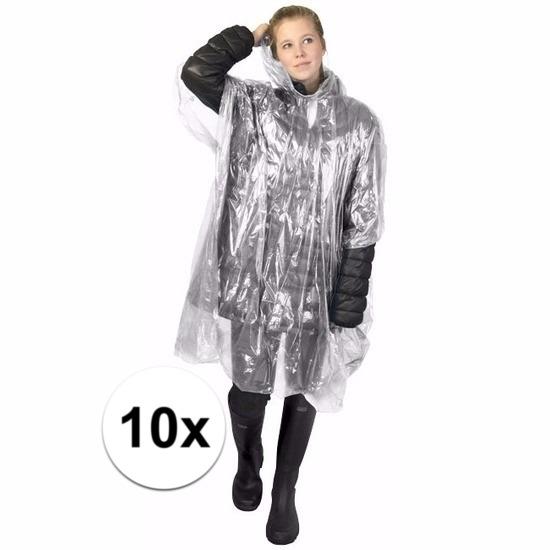 10x wegwerp regenponcho transparant Geen Regenpakken en poncho