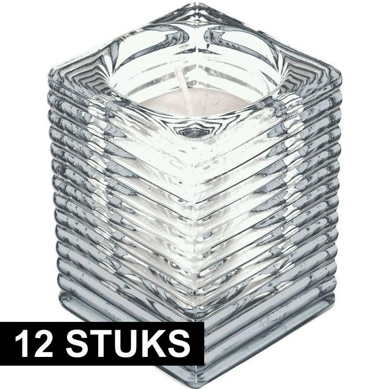 12x Transparante kaarsenhouders met kaars 7 x 10 cm 24 branduren