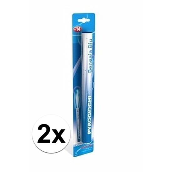 2 blauwe Bengaalse fakkels 36 cm 60 sec