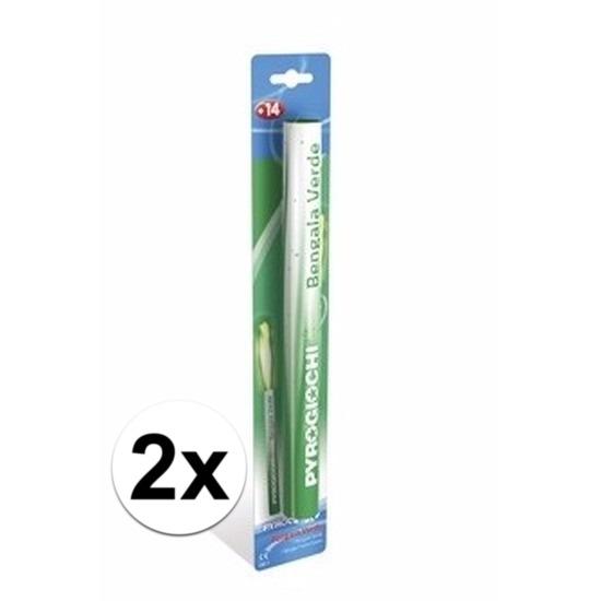 2 groene Bengaalse fakkels 36 cm 60 sec