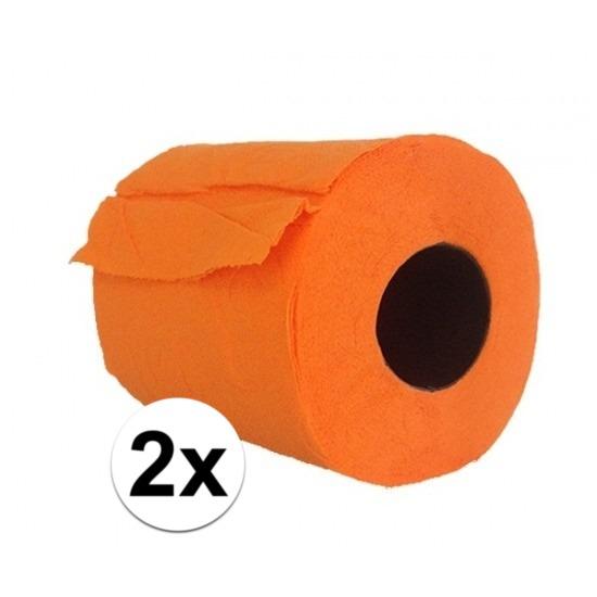 2x Oranje toiletpapier