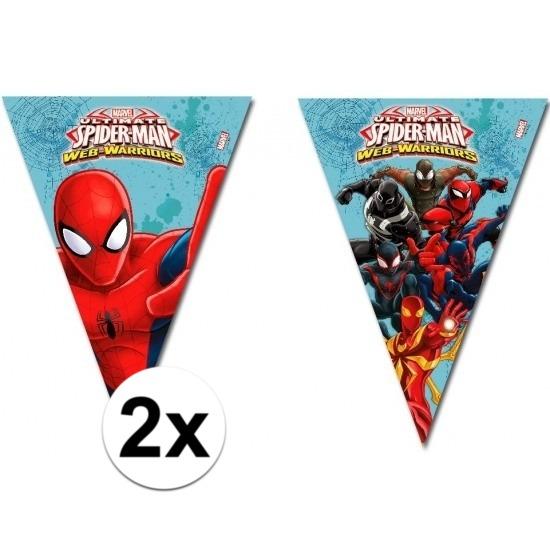 Kinderfeestjes Marvel 2x stuks Spiderman Warriors vlaggenlijnen