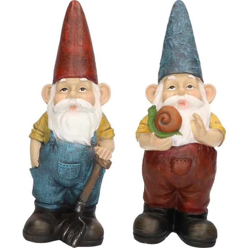 2x Tuinkabouter beelden Harold met hark en Simon met slak 29 cm