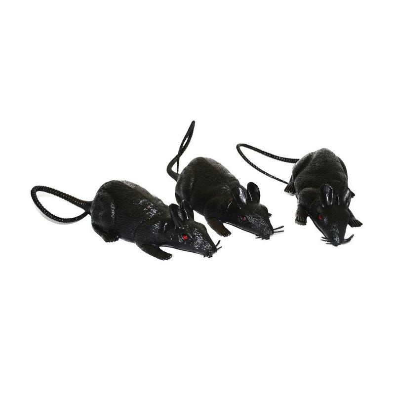 3x grote plastic ratten 12 cm Geen Koopje