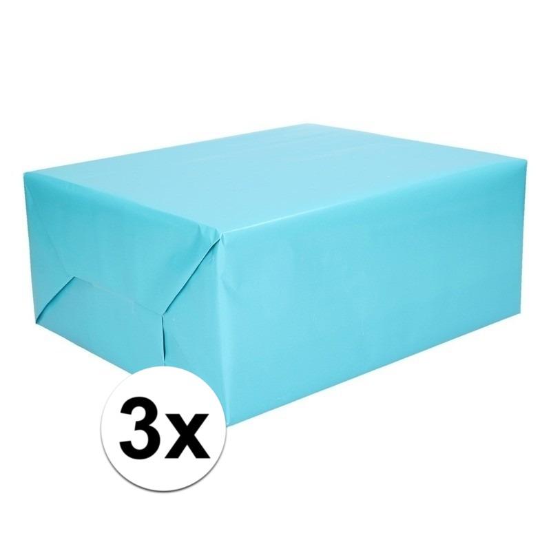 3x Kadopapier aqua 200 x 70 cm op rol