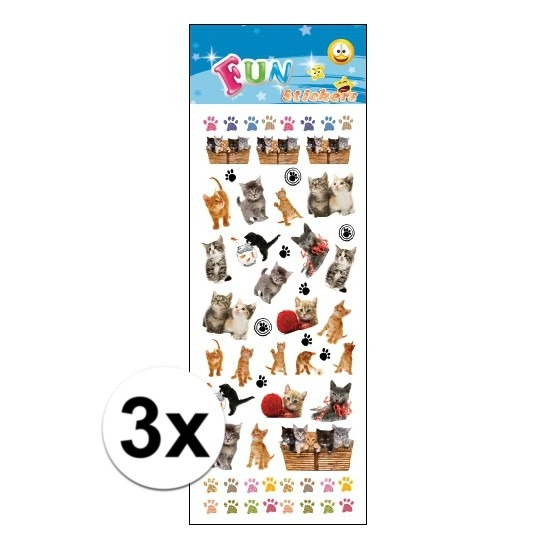 3x Stickervel katten kittens Geen Schitterend