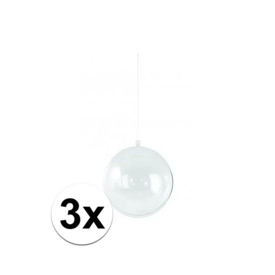 3x stuks transparante DIY kerstballen van 14 cm