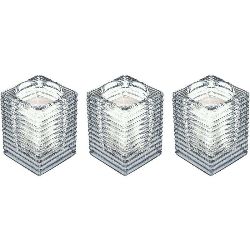 3x Transparante kaarsenhouders met kaars 7 x 10 cm 24 branduren