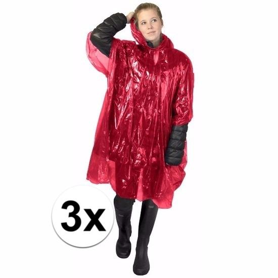 Regenpakken en poncho Geen 3x wegwerp regenponcho rood