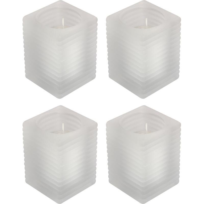 4x Matte kaarsenhouders met kaars 7 x 10 cm 24 branduren
