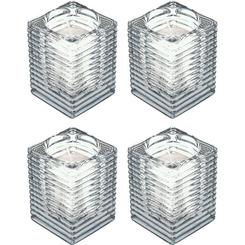 4x Transparante kaarsenhouders met kaars 7 x 10 cm 24 branduren