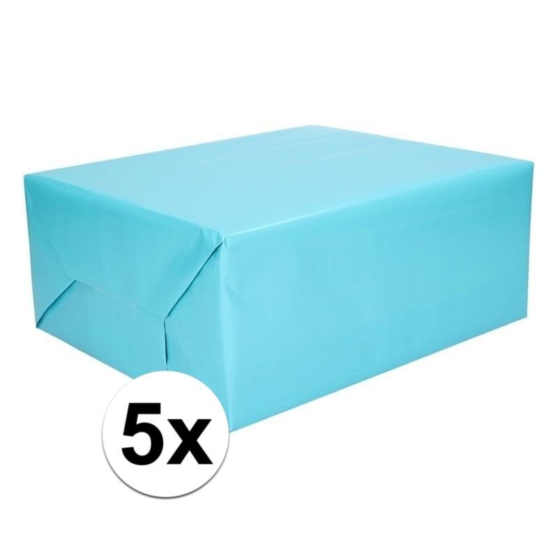 5x Kadopapier aqua 200 x 70 cm op rol