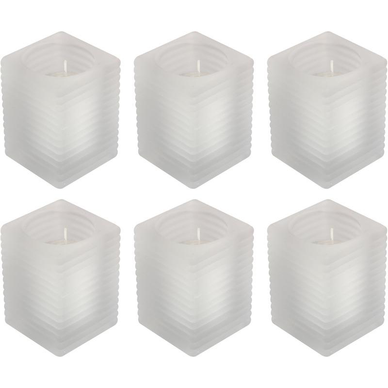 6x Matte kaarsenhouders met kaars 7 x 10 cm 24 branduren