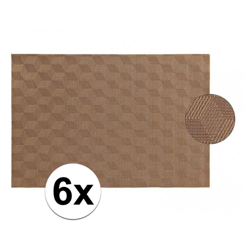 Keuken Geen 6x Placemat gevlochten lichtbruin 45 x 30 cm