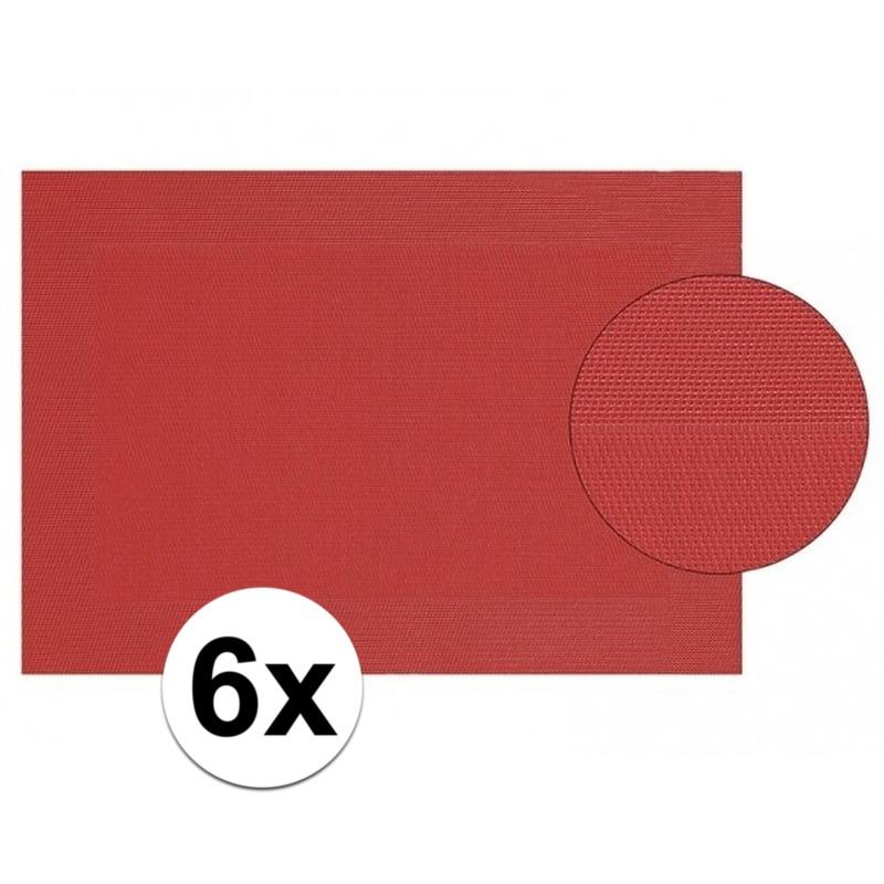 6x Placemat gevlochten rood 45 x 30 cm Geen Keuken