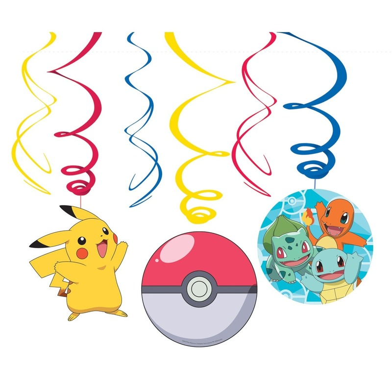 6x Pokemon themafeest rotorspiralen hangdecoratie