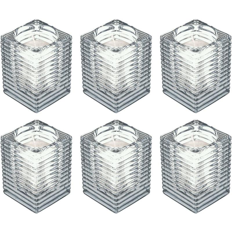 6x Transparante kaarsenhouders met kaars 7 x 10 cm 24 branduren