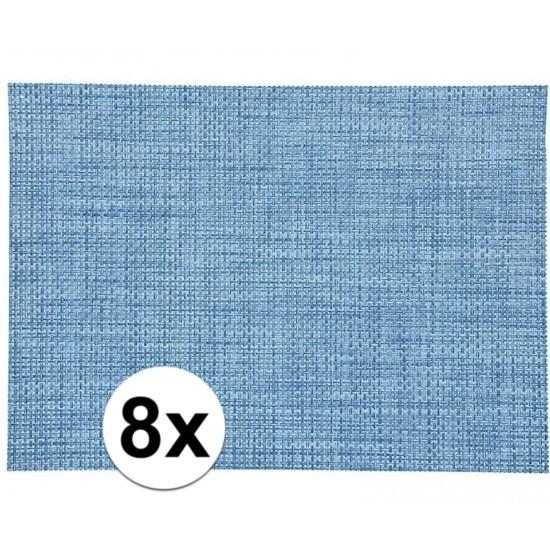 8x Placemat gevlochten blauw 45 x 30 cm Geen Keuken