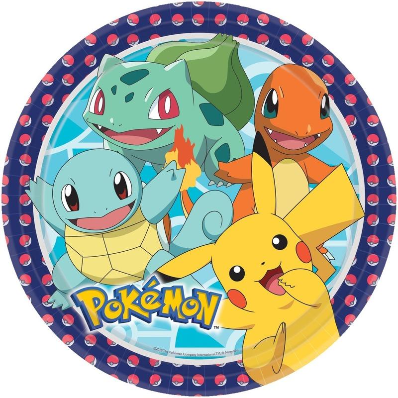 8x Pokemon themafeest eetbordjes 22,8 cm