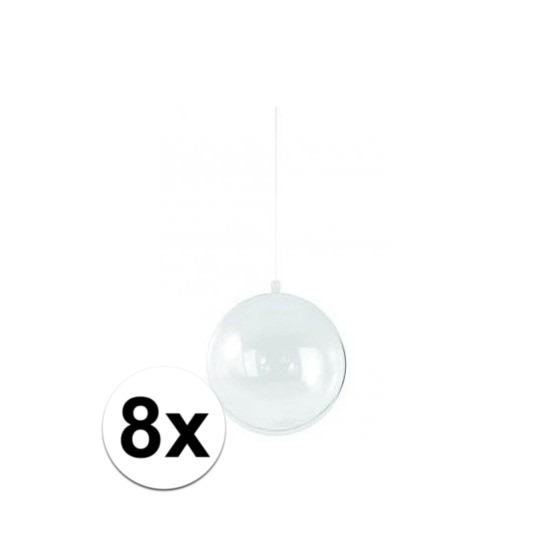 8x stuks transparante DIY kerstballen van 14 cm
