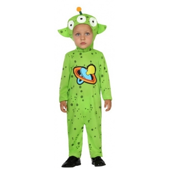 Alientje kostuum voor peuters. het kostuum bestaat uit een jumpsuit en een muts met klittenbandsluiting onder ...