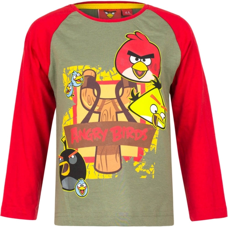Angry Birds t-shirt groen-rood voor jongens
