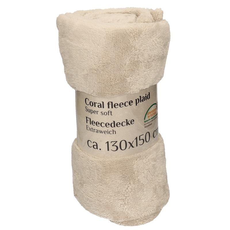 Beige fleece deken 130 x 150 cm Geen Goedkoop