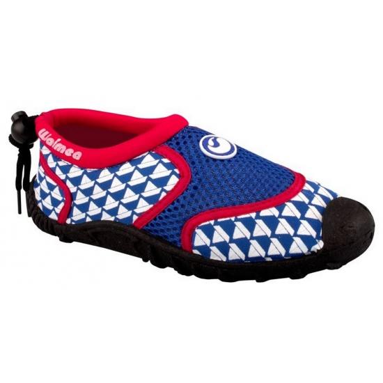Blauw met rode kinder waterschoenen