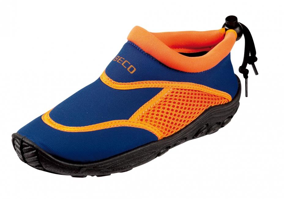 Blauw oranje neopreen surf en waterschoen voor kinderen