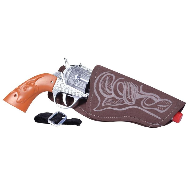 Cowboy pistool met holster 20 cm