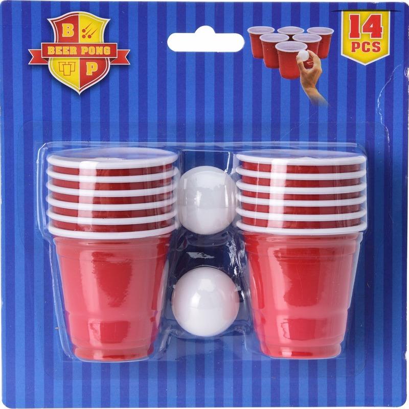 Drankspel-drinkspel mini bier pong spel 14 delig