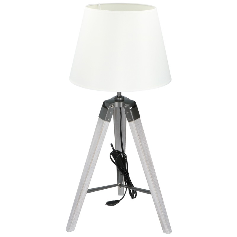 Driepoot schemerlamp-tafellamp witte kap 47,5 cm