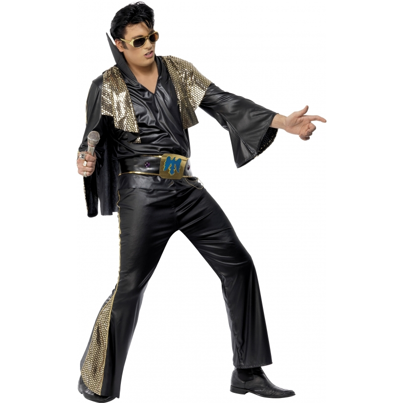 Elvis kostuum zwart-goud