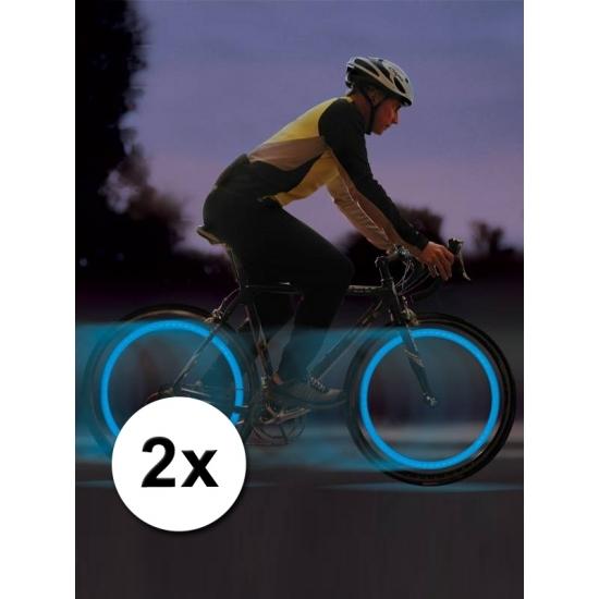 Fiets ventiel LED lampjes blauw 2 stuks