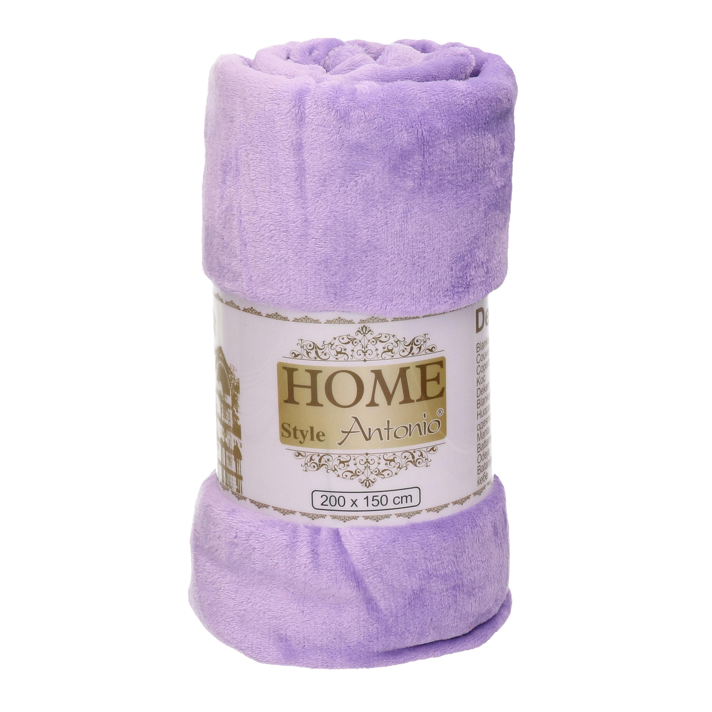 Fleece deken-plaid pastel lila paars 150 x 200 cm