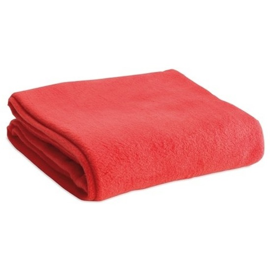 Fleece deken-plaid rood 120 x 150 cm