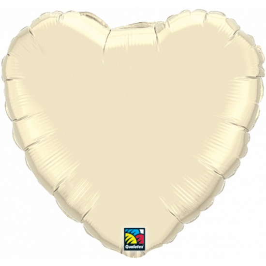 Folie ballon ivoor wit hart 45 cm