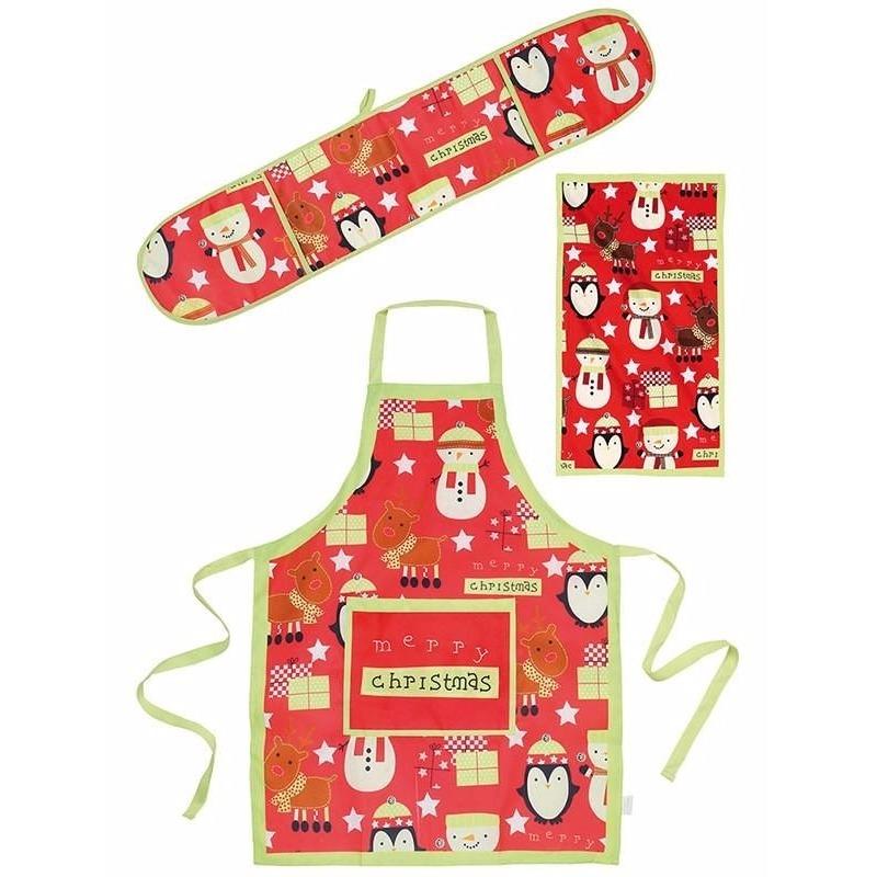 Funny keukentextiel set 3 delig rood-groen