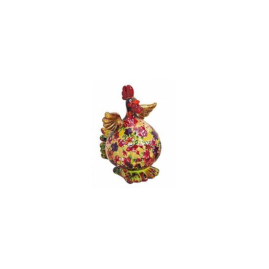 Geel-groene kip spaarpot met bloemen