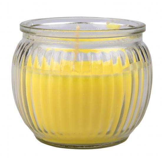 Gele citronella geurkaars in glas 7 x 6 cm