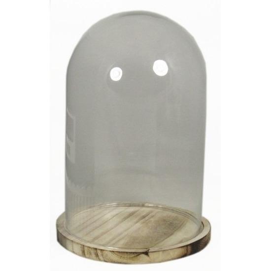 Glazen decoratie stolp op houten plateau 30 cm