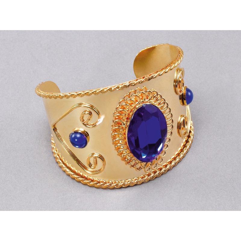 Gouden armband met blauwe steen
