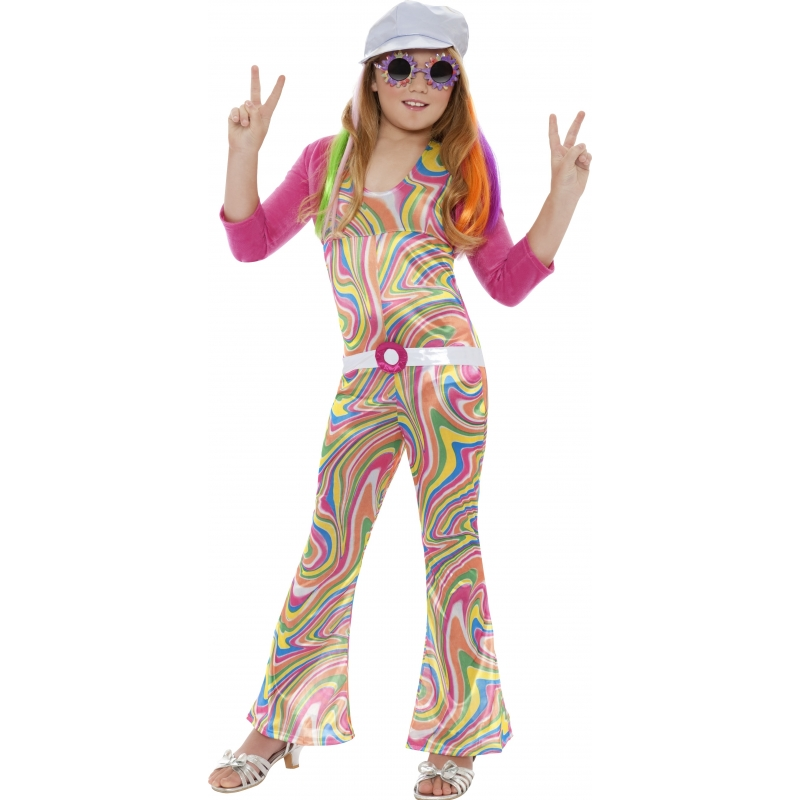 Groovy kostuum voor meisjes. opvallende groovy kostuum voor meisjes dat bestaat uit de jumpsuit, jasje, riem ...
