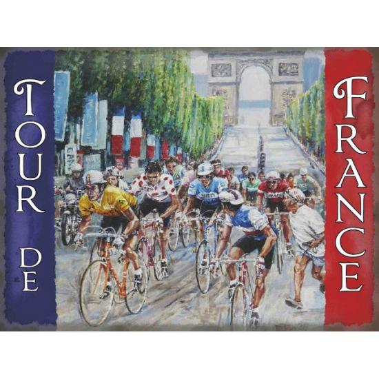 Grote muurplaat Tour de France 30x40cm