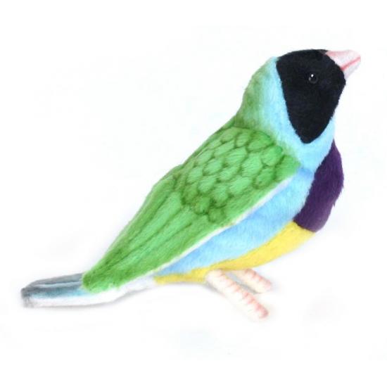Hansa pluche Gouldamadine vogel knuffel 11 cm