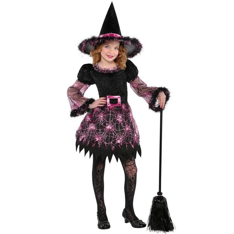 Heksen kostuum spinnenweb voor meisjes