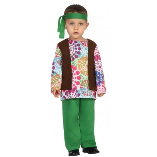 Hippie kostuum voor peuters. het kostuum bestaat uit een shirt, gilet, broek en bijpassende hoofdband. ...