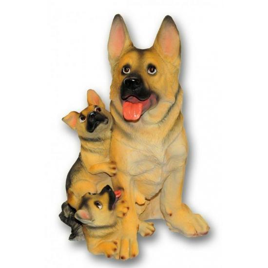 Honden beeldje Duitse Herder met puppies 35 cm